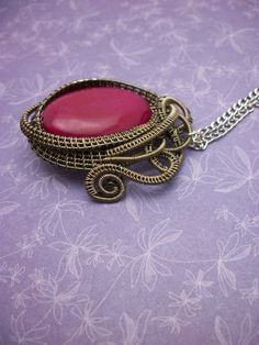 Fuchsia Dyed Jade Wire Wrapped Pendant in by BuyThePlaceWithBeads