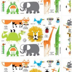 Ed Emberley's Drawing Book of Animals last year as gift to a friend and I was thrilled to found that his iconic characters are now available as the Happy Drawing collection for Cloud9 fabrics