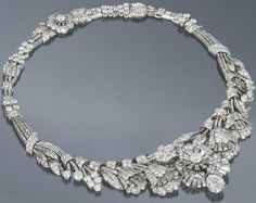 Art Deco diamond tiara/necklace/bracelet, circa 1935. Almost 39 carats of diamonds wearable in 3 different ways. Via Diamonds in the Library.
