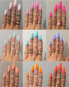 In seek out some nail designs and ideas for your nails? Here's our listing of must-try coffin acrylic nails for trendy women. Summer Acrylic Nails, Cute Acrylic Nails, Acrylic Nail Designs, Spring Nails, Summer Nails, Cute Nails, My Nails, Coral Nails, Dark Nails