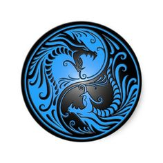 Yin Yang Dragons, blue and black Stickers ~ $5.25/set of 20