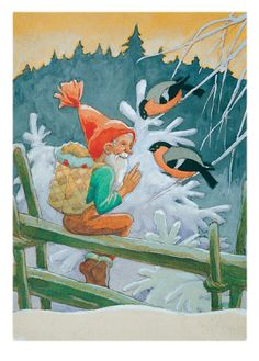 Vintage Finnish Christmas Gnome Card by Rudolf Koivu ~ Bits of Orange