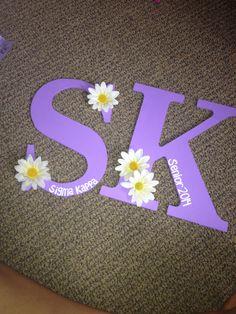 Decorated Sigma Kappa letters for our graduating seniors Alpha Phi Omega, Gamma Phi Beta, Alpha Sigma Alpha, Letter A Crafts, Craft Letters, Painting Wooden Letters, S Alphabet, Phi Sigma Sigma, Sunflowers
