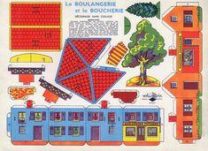 Village en papier : la boulangerie et la boucherie. Il suffit d'imprimer les planches et de découper. Pas besoin de colle !
