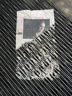 Paper on a grate.