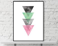 Aquarelle abstraite art minimaliste géométrique par Wallzilla