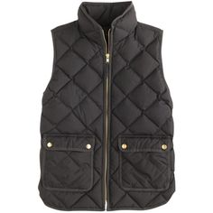 J.Crew Petite Excursion Quilted Down Vest ($105) ❤ liked on Polyvore featuring outerwear, vests, jackets, coats, tops, petite, petite vests, quilted down vest, pocket vest and vest waistcoat