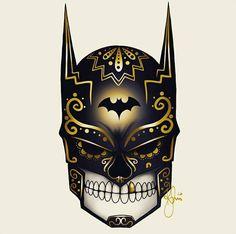 Art by Kenny Sampaio Batman Poster, Batman Artwork, Batman Wallpaper, Batman Logo, Batman Tattoo, Sugar Skull Tattoos, Sugar Skull Art, Sugar Skulls, Batgirl
