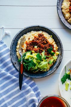 vegan bbq lentils with millet polenta