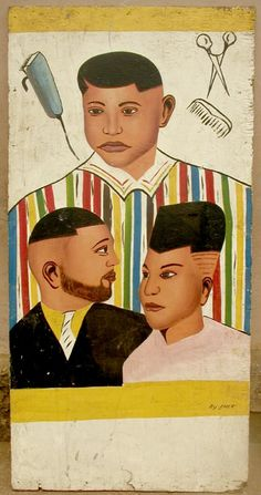 Ghana hair styles sign from the 60s.