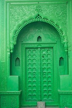 Decorative door in bright green