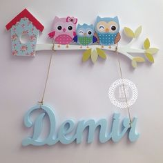 ahsapdecor@gmail.com Cardboard Crafts, Foam Crafts, Diy And Crafts, Crafts For Kids, Baby Wall Decor, Wall Decor Stickers, Baby Letters, Wooden Letters, Cute Alphabet