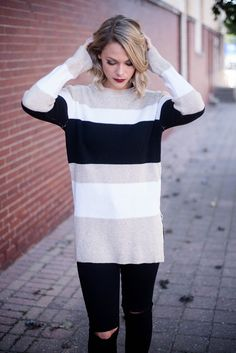 Trends will come and go, but stripes will always be in style! This Taupe Color…