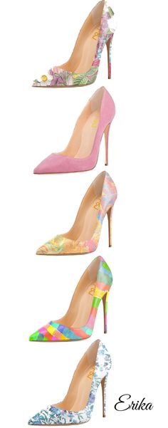 There are a world of assorted types of high heeled shoes, including pumps, platforms, sandals, wedges and high heeled boots for ladies. Pretty Shoes, Beautiful Shoes, Cute Shoes, Me Too Shoes, High Heels Stilettos, Shoes Heels, Sexy Heels, Floral High Heels, Floral Pumps