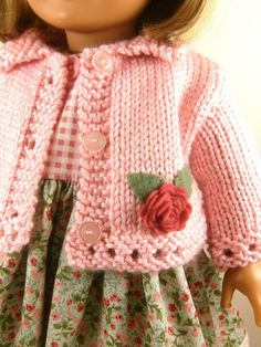 18 Inch Doll Clothes American Girl Pink Hand Knitted Sweater and Sleeveless Dress. $30.00, via Etsy.