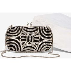 From St. Xavier Magna Clutch (€80) ❤ liked on Polyvore featuring bags, handbags, clutches, silver, chain purse, clasp purse, chain strap purse, white handbags and kiss-lock handbags