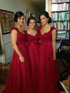Wholesale cheap a-Line wedding dresses online, yes - Find best 2014 sexy cheap chiffon wedding bridesmaid dresses long fashion embroidery cap sleeve lace burgundy bridesmaid. Burgundy Bridesmaid, Bridesmaids And Groomsmen, Bridesmaid Flowers, Wedding Bridesmaid Dresses, Wedding Attire, Red Wedding, Wedding Bells, Vestidos Vintage, Embroidery Fashion