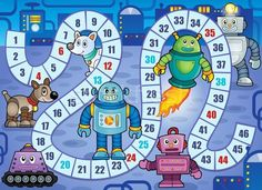 """Free Robot Birthday Party Printables for you to print out and create a fun and amazing robot world for your kid's birthday! We have Robot Birthday Party Food Ideas and Decoration ideas. Robot snacks like """"Metal"""", """"Robot Fuel"""", """"Computer Chips"""" and more. Kindergarten Games, Preschool Games, Math Games, Activities For Kids, Printable Mazes, Printable Board Games, Party Printables, Board Game Themes, Board Games For Kids"""