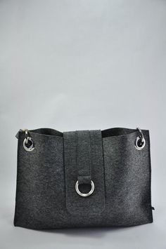 "Beautiful gray melange felt bag ""Charlotte"". Original, beautiful and unique. Made from natural (100% wool) felt premium quality 3mm thick. on Etsy, $130.00"