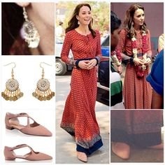 Tour update: Day 3 For a visit to Salaam Baalak this morning, the duchess wore: Dress: Anita Dongre tunic (not yet confined though) Earrings: Accessorize ''filgree bead short drop ($8), worn just two days ago. Shoes: Russell and Bromley 'xpresso' crossover in soft blush suede ($327) I love the pattern, colours, style and length of the dress and that fact that she's wearing flats!! So practical! And she is so thrifty with her accessorises. What are your thoughts??? Credit to…