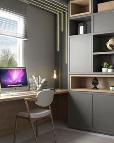 20 modern home office design ideas 00009 Modern Home Offices, Small Home Offices, Home Office Space, Home Office Decor, Desk Office, Office Ideas, Study Room Design, Home Room Design, Office Interior Design