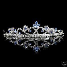 Bridal Tiara, Bridal Jewelry, Crown Aesthetic, Silver Tiara, Princess Tiara, Fantasy Jewelry, Tiaras And Crowns, Crystal Wedding, Blue Crystals
