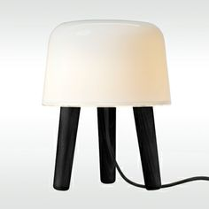 With Milk table lamp, the Danish Norm architects Kasper Rønn and Jonas Bjerre-Poulsen find exciting new ways in an ancient Nordic tradition of wood and glass. Though perfectly suited as a lamp, Milk adds more than light to your home. Shop Lighting, Pendant Lighting, Black And White Furniture, Black Table Lamps, Black Stains, Nordic Design, Scandinavian Design, Traditional Furniture, Taps