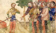 BNF Français 343 - Queste del Saint Graal / Tristan de Léonois  Folio:2 Location:Milan, Italy Dating:1380 - 1385 Institution:Bibliothèque Nationale