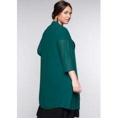 Long Bluse Blusenjacke Jacke aus Spitze schwarz Sheego Gr 48 50 52