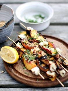 Vegetarian Grilling: Grilled Halloumi and Peaches with Dukkah recipe from My New Roots Vegetarian Grilling, Grilling Recipes, Cooking Recipes, Healthy Recipes, Grilling Ideas, Vegetarian Bbq Skewers, Vegetarian Recipes Gourmet, Meat Skewers, Healthy Food