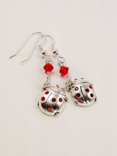 SALE Ladybug Earrings Red Swarovski Crystal Bicone Silver Dangles Spring Jewelry Cute Girly Jewelry Gift Ideas Silver Little Lady Bug