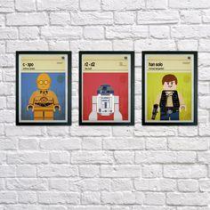 Lego Star Wars prints, Set of 3 prints, Mid Century Modern, Typography Print, Childrens Bedroom Art, Nursery Pictures, Kids art, Wall art by houseofprintsshop on Etsy https://www.etsy.com/listing/231818872/lego-star-wars-prints-set-of-3-prints