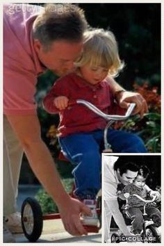 ORIGINAL: This is the modern stock photo (Getty Images) that was used to create this FAKE image (smaller insert) of daddy Elvis helping his daughter Lisa Marie to ride her tricycle.