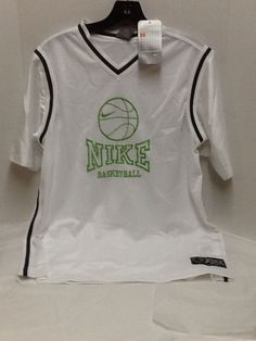 Nike Boys Jersey Basketball Shirt Size XL White Green Short Sleeves New w Tag #Nike #Sportsjersey #Everyday