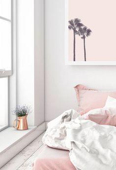 Pink Palm Trees #dormdecor #bedroomdecor #homedecor #roomdecor #wallart #walldecor #prints #decor