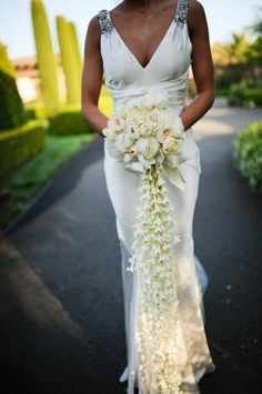 Cascading Flower Bouquets | White Cascading Waterfall Bouquet