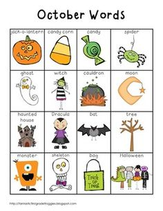 This is a pack of for your writing center or word wall. This is a set of October words. This pack contains a full page list (color and black and white versions), word strips, and word wall cards. My kids love to use them to help them spell words or Kindergarten Writing, Teaching Writing, Literacy Activities, Teaching English, Literacy Stations, Listening Activities, Spelling Activities, Kids English, English Lessons