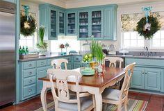 Cozinha decorada Clássica azul e branco