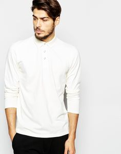 Image 1 ofADPT Long Sleeve Pique Polo Shirt