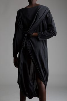 Black cotton long sleeve sarong dress with shoulder pleat detail and continuous fabric that passes through the legs Vintage Designer Clothing, Designer Dresses, Sarong Dress, Vintage Outfits, Vintage Fashion, Issey Miyake, Minimal Fashion, Designing Women, Black Cotton