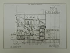 Elevation, The Columbia Theater, San Francisco, CA, Original Plan. Interior Design History, Architectural Drawings, Line Art, Magnolia, Columbia, Theater, Bliss, San Francisco, Floor Plans