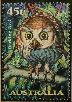 Owl postage stamp, Australia.