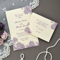DIY Purple and Ivory Flourish Invitation Kit - Qty of 100 . $103.48. Give your guests an invitation that is sure to set the scene at your classically vintage celebration with our DIY Purple & Ivory Flourish Invitations Kit. Featuring a floral and damask design in a rich plum hue, these DIY invites are sure to wow everyone on your guest list. Each offers a timeless touch of elegance that is idyllic for brides and grooms everywhere!  Perfect for the do-it-yourself br...