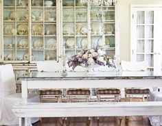 Dining room cabinets, very vintage farmhouse.