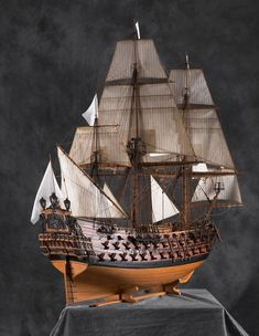 """""""Le Ambiteux"""", A French battleship from the flagship of the Chevalier de Turville and one of the finest and most beautiful ships of the French Crown of the XVII century. Model Sailing Ships, Old Sailing Ships, Model Ship Building, Boat Building, Model Sailboats, Scale Model Ships, Classic Sailing, Make A Boat, Wooden Ship"""