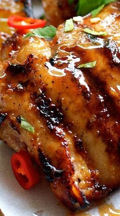Grilled Chicken (Gai Yang) with Authentic Flavors From the Streets of Thailand, Easy to Make on Your BBQ, Stove or Oven.Thai Grilled Chicken (Gai Yang) with Authentic Flavors From the Streets of Thailand, Easy to Make on Your BBQ, Stove or Oven. Thai Grilled Chicken, Grilled Chicken Recipes, Thai Bbq Chicken Recipe, Vietnamese Grilled Chicken Recipe, Chinese Chicken Thigh Recipes, Thai Chicken Marinade, Marinated Chicken Thighs, Korean Chicken, Coconut Chicken