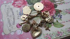 Vintage Charm Bracelet Hearts ballerina lock & hey by Scentedlingerie