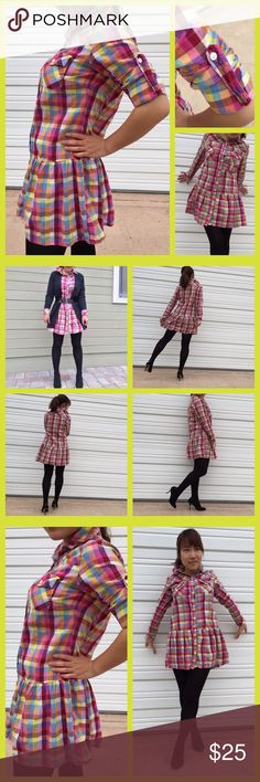 Multicolor Shirt Dress Multicolor plaid buttondown dress shirt. 2 front pockets. The bottom has been designed with the skirt hem. In great condition. Tops