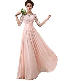Vakind-Women-Lace-Chiffon-Prom-Ball-Party-Dress-Bridesmaid-Formal-Evening-Gown-LUS8-US10-Pink-0