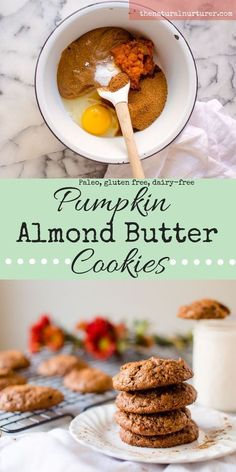 Possibly the easiest cookies you can whip up when a craving hits, Pumpkin Almond Butter Cookies are going to be your new fall jam! Made from 7 squeaky clean ingredients and whipped up in one bowl, these delicious beauties are totally Paleo, dairy-free, gl Dairy Free Cookies, Paleo Cookies, Gluten Free Treats, Paleo Baking, Gluten Free Baking, Paleo Dessert, Healthy Sweets, Healthy Eating, Almond Butter Cookies